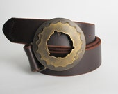 SALE - forged belt buckle - Brass Super Cog Buckle by Steel Toe Studios - gift for cyclists -