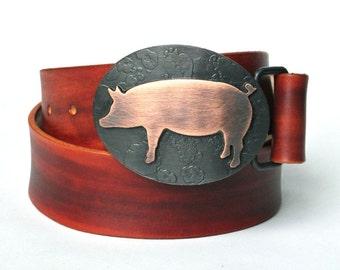 Wilbur Copper Pig Belt Buckle Hand forged steel