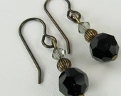Black and Grey Crystal with Natural Brass Earrings