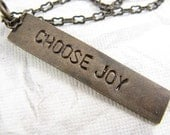 Choose Joy Necklace, Hand Stamped Jewelry, Inspirational Quote Necklace