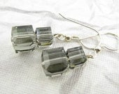 Grey Cube Crystal Earrings, Sterling Silver French Ear Wires, Swarovski Crsytal Cubes