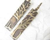 Brass Tree Earrings, Embossed Tree Image Earrings