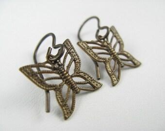 Brass Filigree Butterfly Earrings