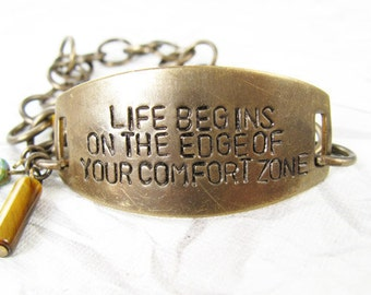 Life Begins on the Edge of your Comfort Zone - Inspirational Quote Bracelet