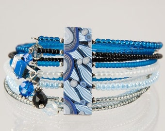 Shade of Blue Cuff Bracelet with Stunning Polymer Clay focal Bead