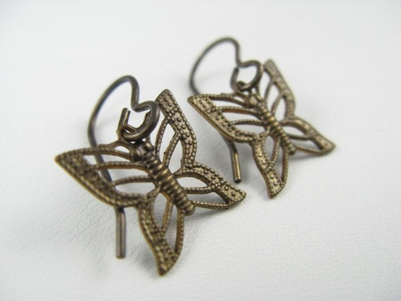 Brass Filigree Butterfly Earrings