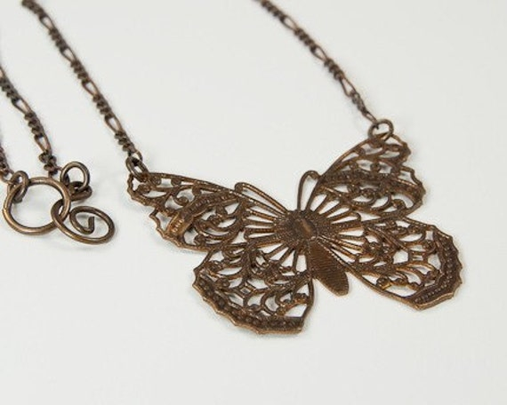 Natural Brass Butterfly Filigree Necklace