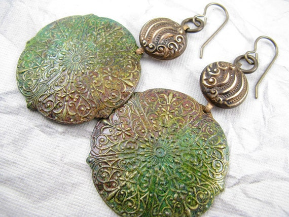 Art Deco Earrings Green Yellow and Bronze with Brass Accents, Hand Painted Earrings