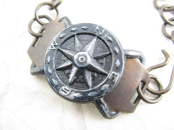 Compass Bracelet, Steampunk look, Brass and Arte Metal Bracelet with bronze accents