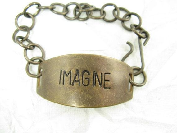 AS IS: IMAGINE hand stamped brass bracelet