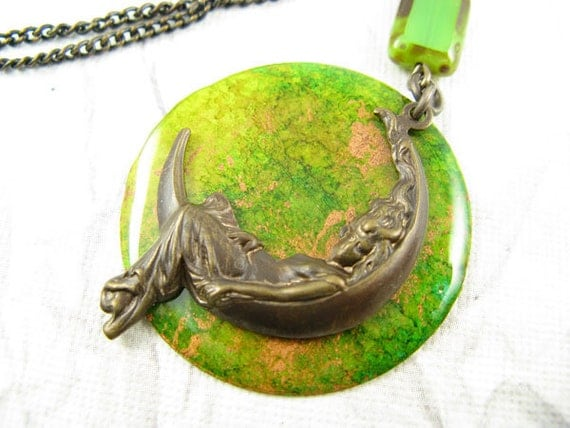 Bright Yellow Green Moon Goddess Necklace, Hand Painted Pendnant, Fine Brass chain necklace