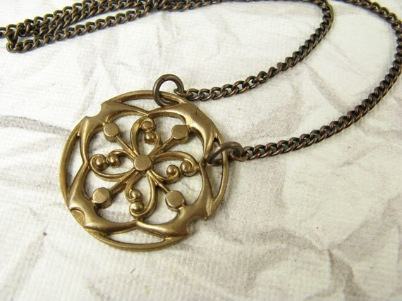 Sparrow's Compass Brass Necklace - choose chain length