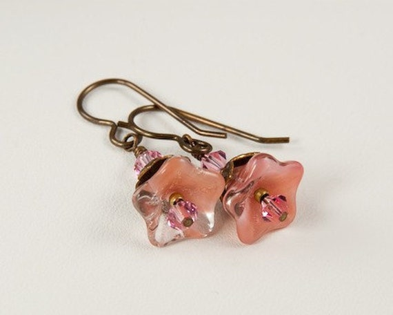 Pink Blush - Flower Earrings with Brass Accents