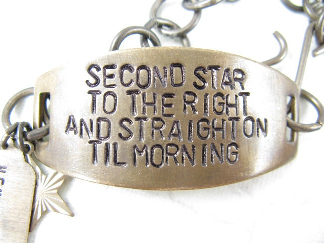 Second Star to the Right Hand Stamped quote Bracelet Peter Pan
