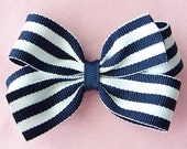 Navy Blue and White Stripe 3 Inch Hairbow Hair Bow