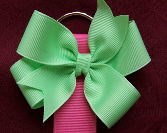 Custom made Bow Holder with FREE removable 3 inch Bow --  You choose from Huge Ribbon Selection