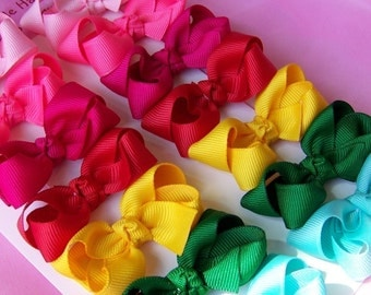 Custom Hair Bows - Set of 6 Small Twisted Boutique 2 Inch Hairbows in Your Choice Of Colors