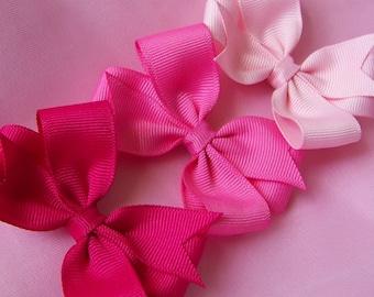 Pink Hair Bows - Set of Three 3 inch Pinwheel Hairbows