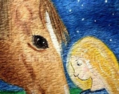 Horse and Girl ACEO Print 2.5 x 3.5 Titled: Good Night My Friend ATC Watercolor Art Card