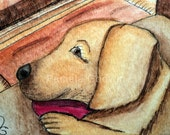 Yellow Lab Dog by Fireplace ACEO Original ATC - Titled: Loving the Fireplace