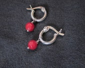 Tiny Gem Hoop earrings with faceted coral