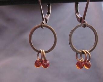 Tiny Drop amber dangle earrings
