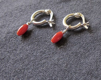 Tiny Gem Hoop earrings with red coral rice beads