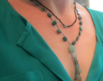 Crocheted Boho Tunic Necklace in green adventurine