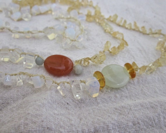 Sun and Moon crocheted beaded gemstone necklace in a celestial combination of citrine, carnelian, jade, and opalite