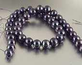 Black peacock freshwater pearls, round 10mm, 16 inch strand, FW pearl natural