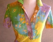 Multi Color Vintage Polo Top by Leslie Fay