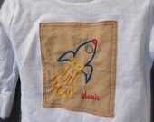 rocket ship shirt, patch