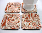 Coasters, Fabric Coasters Persimmon Floral Paisley