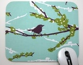 Buy 2 FREE SHIPPING Special!!   Mouse Pad, Computer Mouse Pad, Fabric Mousepad      Plum Sparrows on Mint