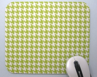 Buy 2 FREE SHIPPING Special!!   Mouse Pad, Fabric MousePad Lime/Ivory Houndstooth