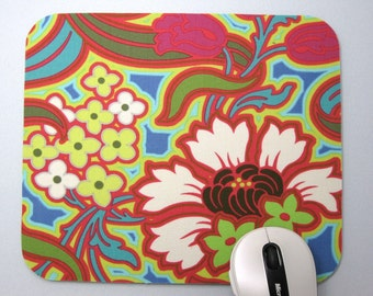 Buy 2 FREE SHIPPING Special!!   Mouse Pad, Fabric Computer Mousepad        Disco Flowers in Hot Pink