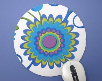 Buy 2 FREE SHIPPING Special!!   Mouse Pad, Computer Mouse Pad, Round Fabric Mouse Pad or Trivet   Dancing Flowers on White