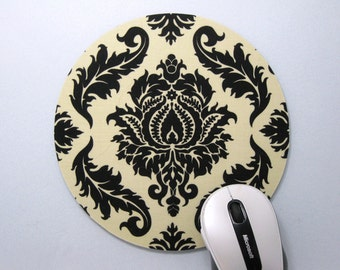 Buy 2 FREE SHIPPING Special!!   Mouse Pad, Round Fabric Computer Mousepad, or Trivet Black & Tan Damask