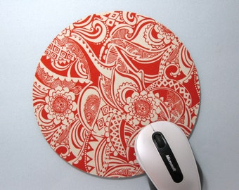 Buy 2 FREE SHIPPING Special!!   Mouse Pad, Fabric Mousepad or Trivet  Persimmon Floral Paisley