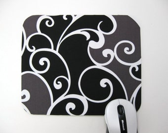Buy 2 FREE SHIPPING Special!!   Mouse Pad, Computer Mouse Pad, Fabric Mousepad          Whimsy Surf in Black
