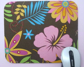 Buy 2 FREE SHIPPING Special!!   Mouse Pad, Computer Mouse Pad, Fabric Mousepad  Tropical Flowers on Brown
