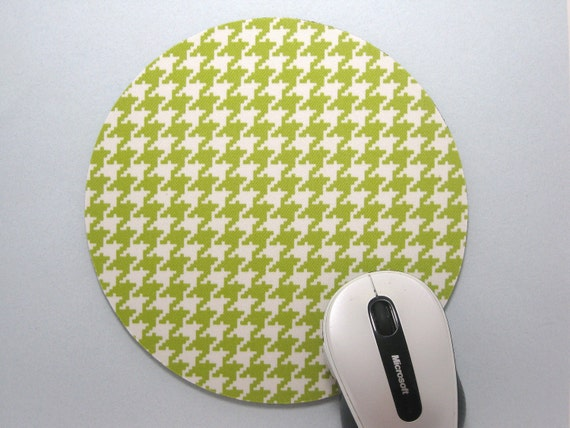 Buy 2 FREE SHIPPING Special!!   Mouse Pad, Round Fabric Mousepad or Trivet          Lime & Ivory Houndstooth