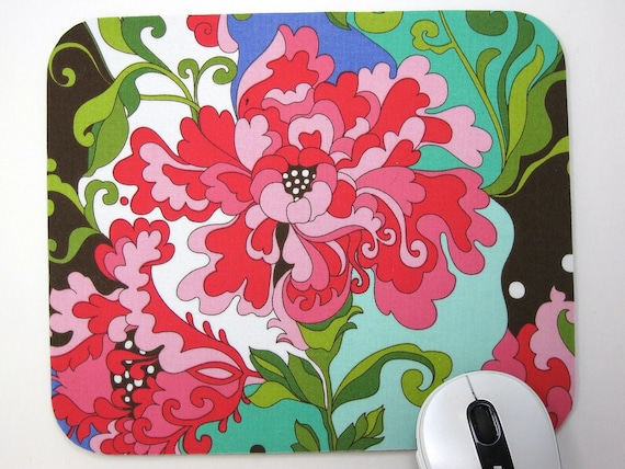 Buy 2 FREE SHIPPING Special!!   Mouse Pad, Computer Mouse Pad, Fabric Mousepad      Fancy Peonies Floral