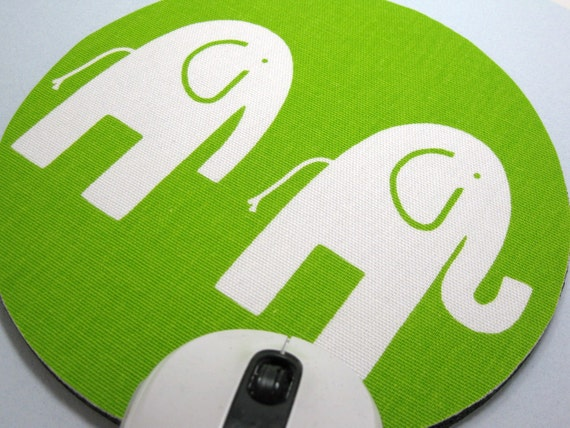 Buy 2 FREE SHIPPING Special!!   Mouse Pad, Round Fabric Mousepad or Trivet          White Elephants on Lime