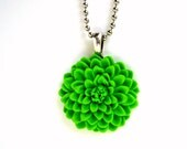 Lime Chrysanthemum Cabachon Flower Necklace