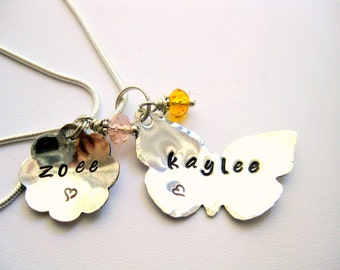 Flower and Butterfly Sterling Silver Charm Hand Stamped Metal Charm Necklace