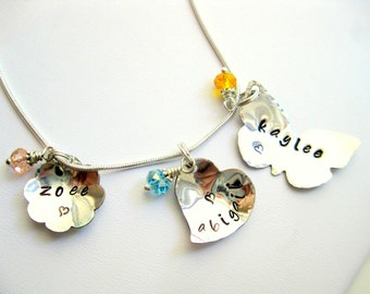 3 Name Sterling Silver Flower - Butterfly - Heart Hand Stamped Metal Charm Necklace  -made to order