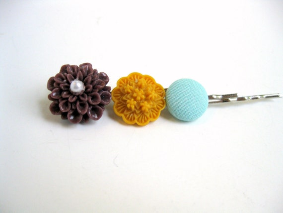 Hair Accessories Mordern  Flower Bobby Pins Mustard Yellow