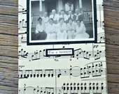 Blank Handmade Journal Coptic Bound Vintage Stitch Sheet Music and Photo