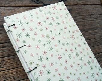 Winter Handmade Journal, Medium Winter Journal Coptic Stitch Cream And Snowflake Sketchbook, Holiday Memory Journal, Christmas Notebook